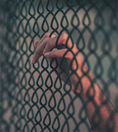 Hand in fence